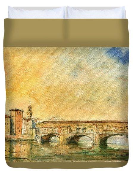 Florence Bridge Ponte Vecchio Duvet Cover