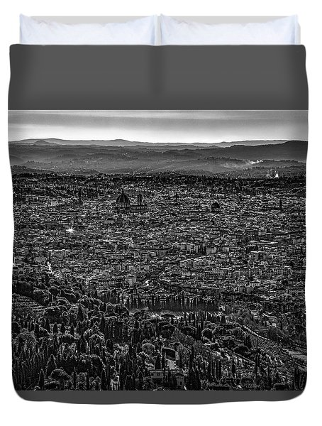 Duvet Cover featuring the photograph Florence From Fiesole by Sonny Marcyan