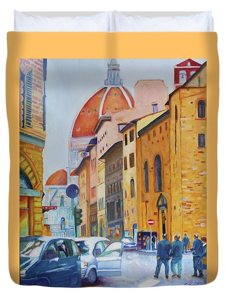 Florence Going To The Duomo Duvet Cover