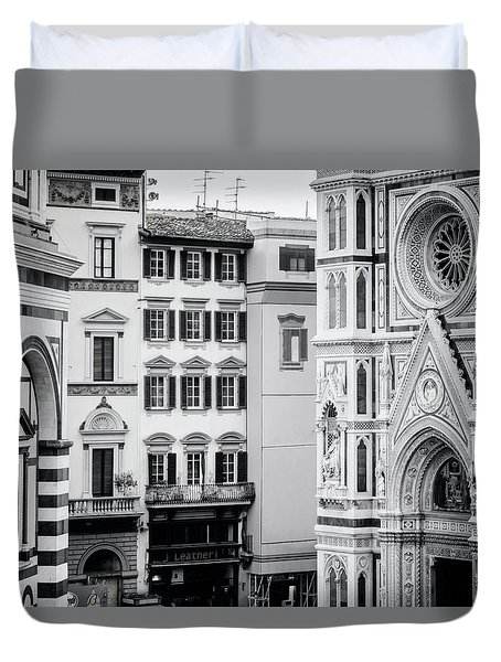 Duvet Cover featuring the photograph Florence Italy View Bw by Joan Carroll