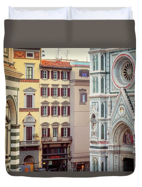 Duvet Cover featuring the photograph Florence Italy View by Joan Carroll