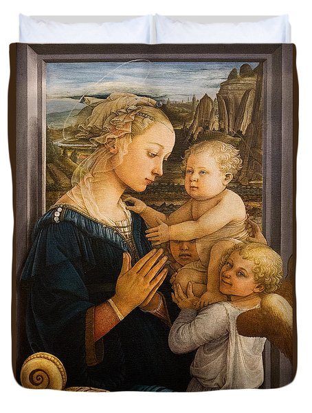 Florence - Madonna And Child With Angels- Filippo Lippi Duvet Cover