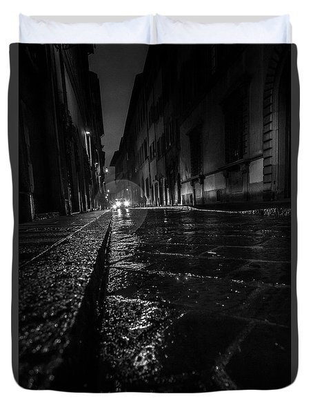 Duvet Cover featuring the photograph Florence Nights by Sonny Marcyan