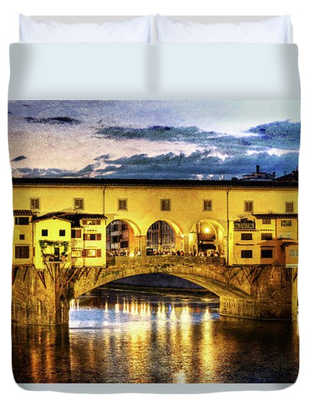 Florence - Ponte Vecchio Sunset From The Oltrarno - Vintage Version Duvet Cover