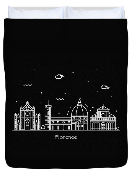 Florence Skyline Travel Poster Duvet Cover