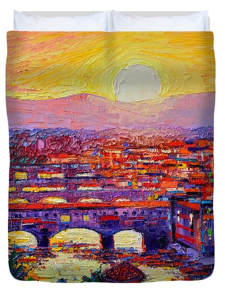 Florence Sunset Over Ponte Vecchio Abstract Impressionist Knife Oil Painting By Ana Maria Edulescu Duvet Cover