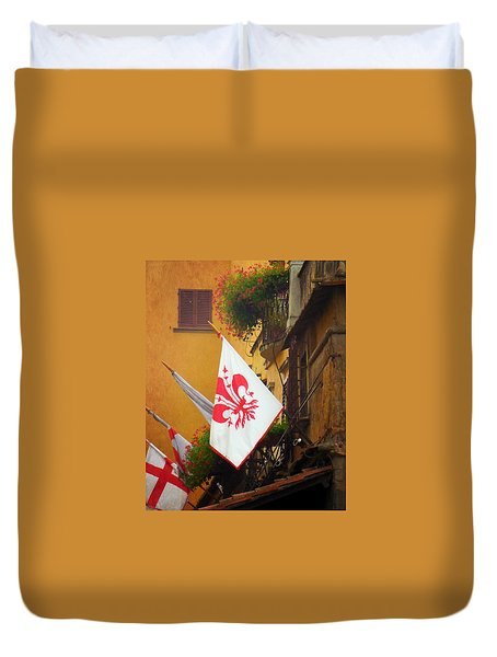 Duvet Cover featuring the photograph Florentine Flag by Valerie Reeves