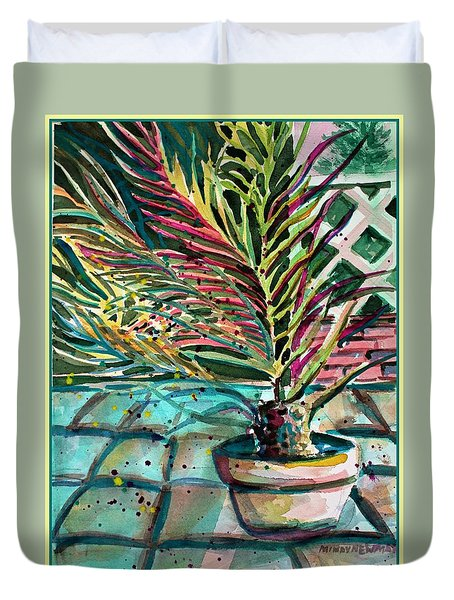 Duvet Cover featuring the painting Florescent Palm by Mindy Newman