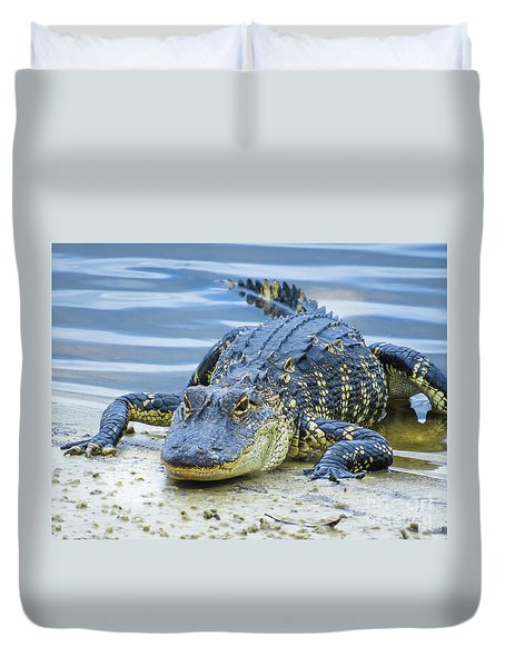 Florida Alligator Closeup Duvet Cover