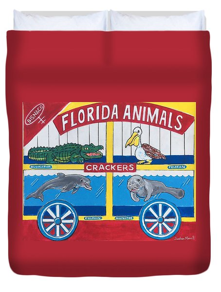 Florida Animal Crackers Duvet Cover