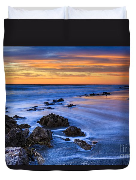 Florida Beach Sunset Duvet Cover