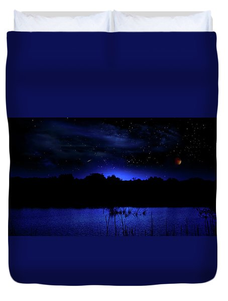 Florida Everglades Lunar Eclipse Duvet Cover