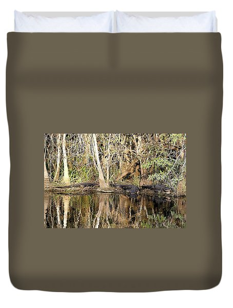 Duvet Cover featuring the photograph Florida Gators - Everglades Swamp by Jerry Battle