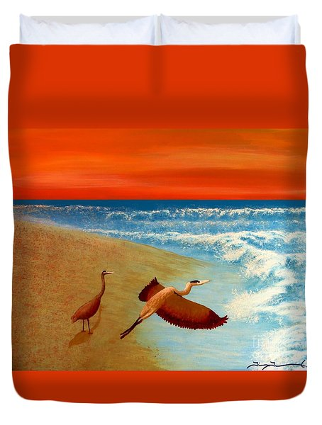 Florida Heron At Sunrise Duvet Cover by Tim Townsend