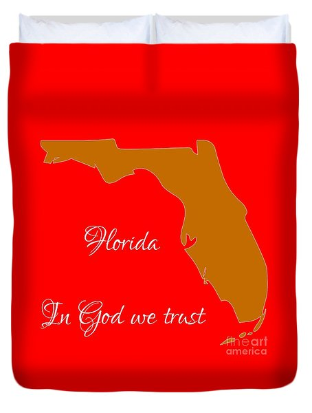 Florida Map In State Colors Orange Red And White With State Motto In God We Trust  Duvet Cover by Rose Santuci-Sofranko