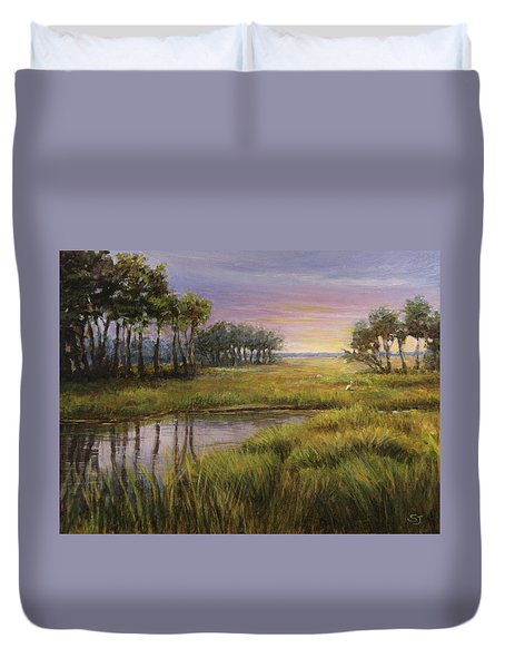 Florida Marsh Sunset Duvet Cover