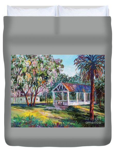 Duvet Cover featuring the painting Florida Picnic by Lou Ann Bagnall