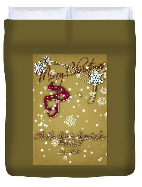 Florida State Seminoles Christmas Card 2 Duvet Cover by Joe Hamilton