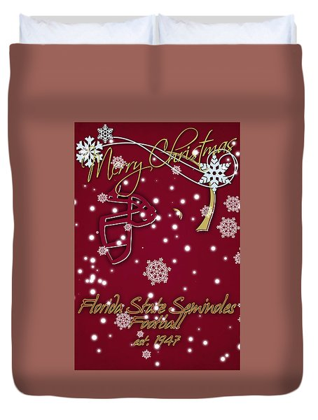 Florida State Seminoles Christmas Card Duvet Cover by Joe Hamilton