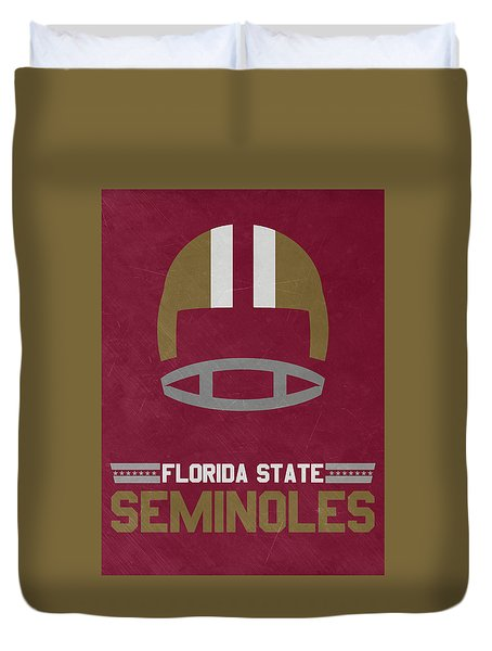 Florida State Seminoles Vintage Football Art Duvet Cover by Joe Hamilton