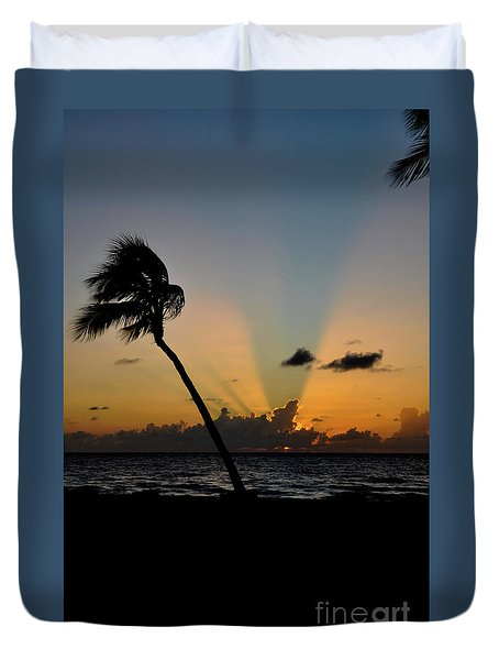 Duvet Cover featuring the photograph Florida Sunrise Palm by Kelly Wade