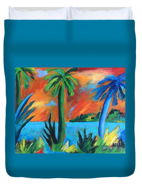 Duvet Cover featuring the painting Florida Sunset by Elizabeth Fontaine-Barr