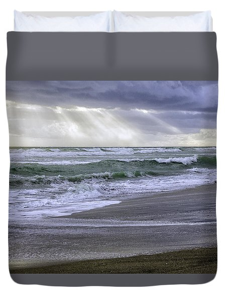 Florida Treasure Coast Beach Storm Waves Duvet Cover