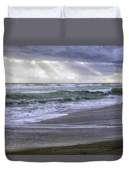 Florida Treasure Coast Beach Storm Waves Duvet Cover