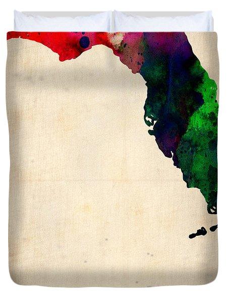 Florida Watercolor Map Duvet Cover by Naxart Studio