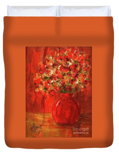 Duvet Cover featuring the painting Florists Red by P J Lewis