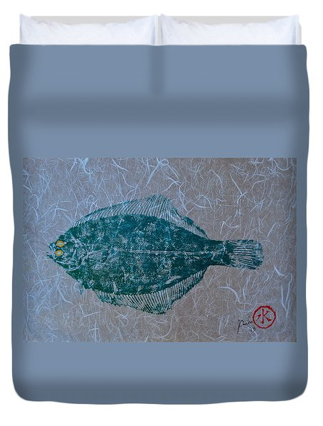 Flounder - Winter Flounder - Black Back Duvet Cover