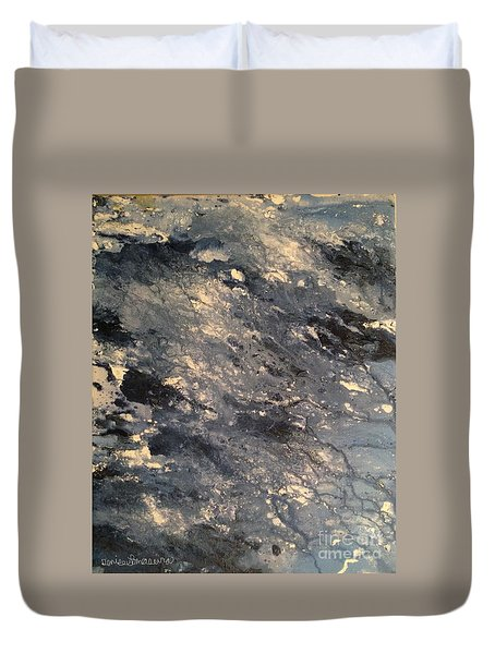 Duvet Cover featuring the painting Flow by Denise Tomasura