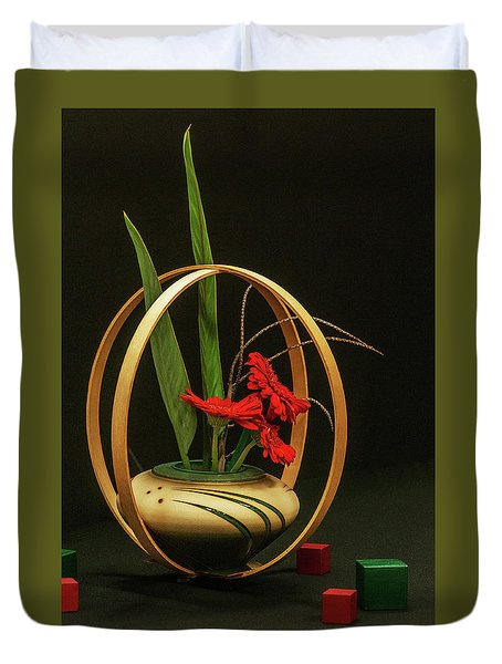 Duvet Cover featuring the photograph Flow Ikebana by Carolyn Dalessandro