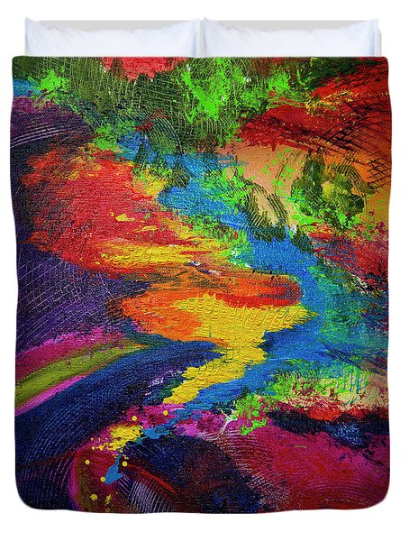 Duvet Cover featuring the painting Flow by Jeanette French