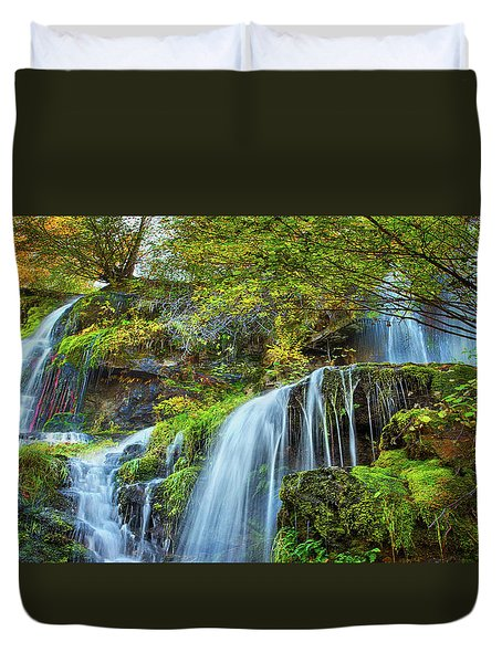 Duvet Cover featuring the photograph Flow by John Poon