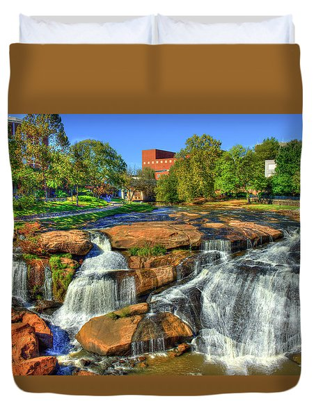 Flow On Reedy River Falls Park Art Greenville Sc Duvet Cover