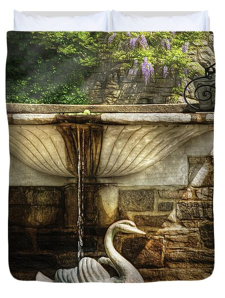 Flower - Wisteria - Fountain Duvet Cover by Mike Savad