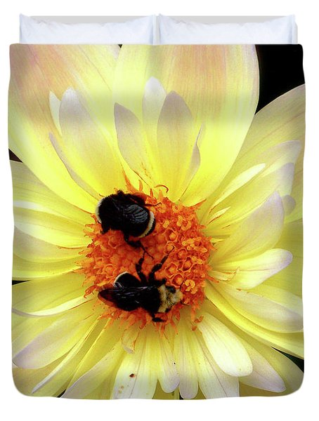 Flower And Bees Duvet Cover