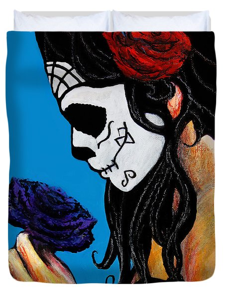 Flower And Skull Duvet Cover