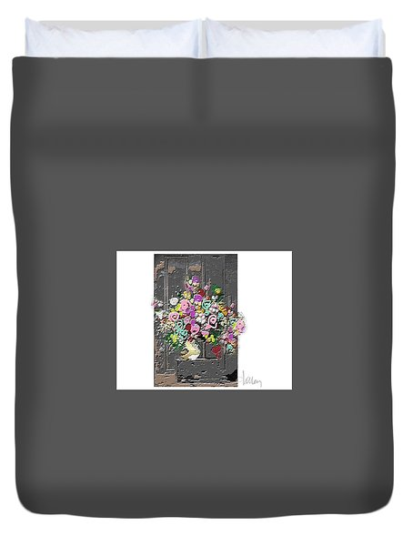 Duvet Cover featuring the mixed media Flower Arrangement by Larry Talley
