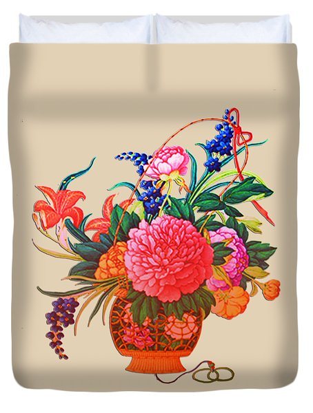 Flower Basket Duvet Cover by Asok Mukhopadhyay