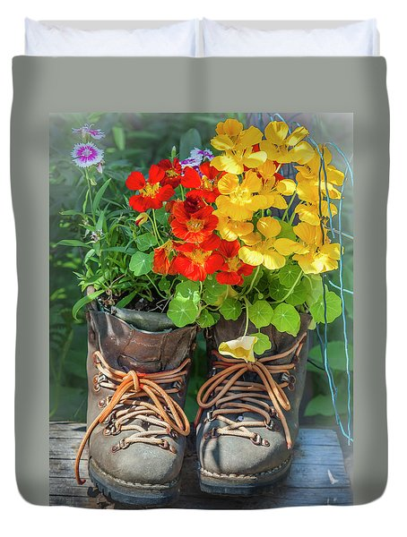 Flower Boots Duvet Cover