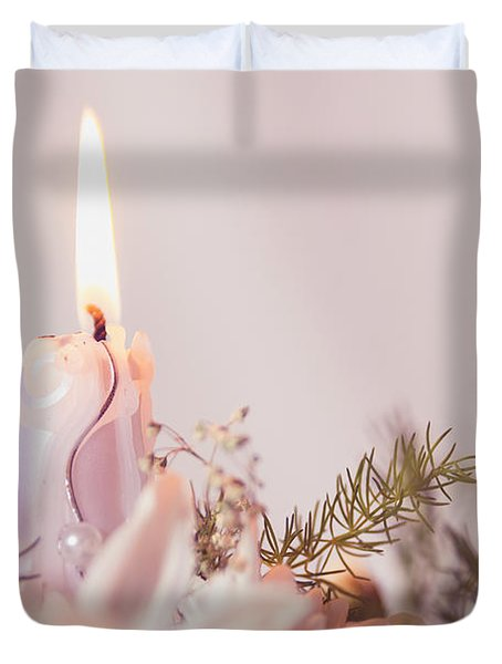 Flower Bouquet With Candle Duvet Cover
