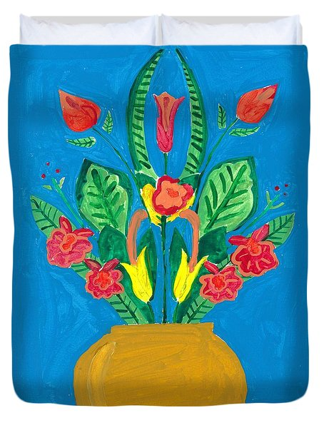 Flower Bowl Duvet Cover by Margie-Lee Rodriguez
