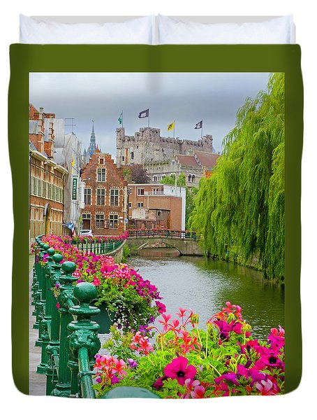 Flower Boxes Along The Canal Duvet Cover