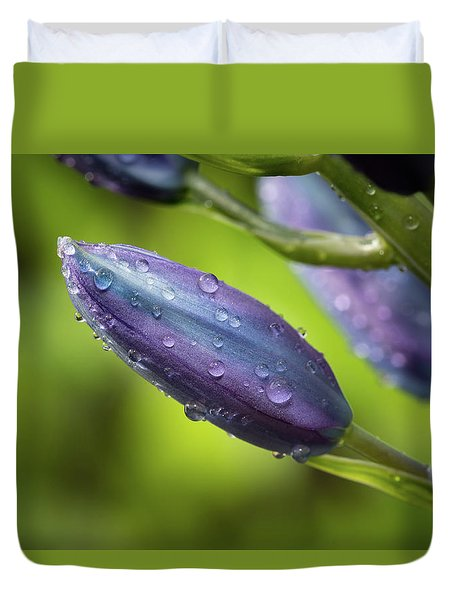 Flower Buds With Dew Drops Duvet Cover