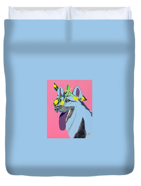 Flower Dog 4 Duvet Cover