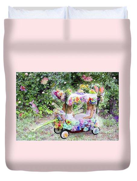 Flower Fairies In A Flower Mobile Duvet Cover