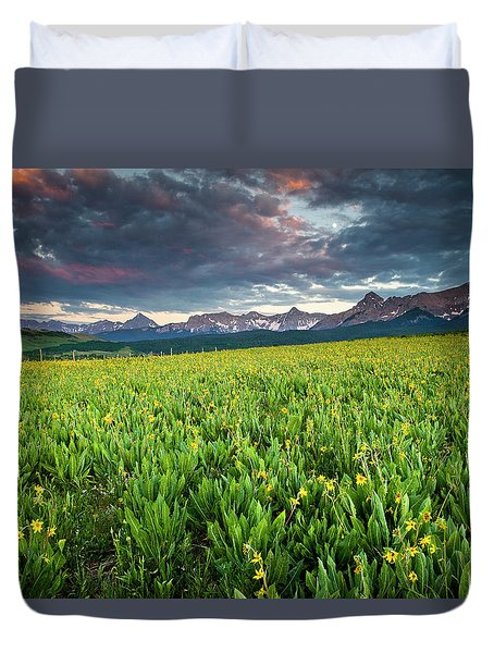 Flower Field And Sneffels Range Duvet Cover