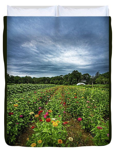 Flower Field At North Sea Farms Duvet Cover